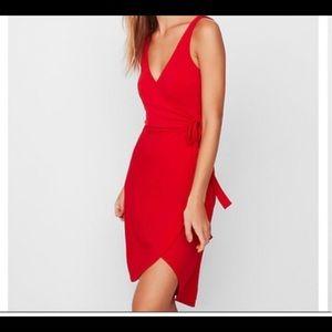 Express faux wrap high low dress